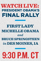 President Obama's Final Rally in Des Moines Iowa - with First Lady Michelle Obama and Bruce Springsteen
