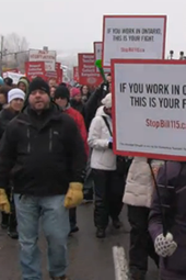 Public teachers protest Bill 115