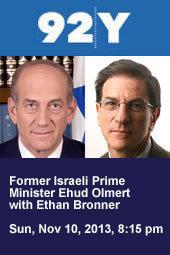 Former Israeli Prime Minister Ehud Olmert with Ethan Bronner