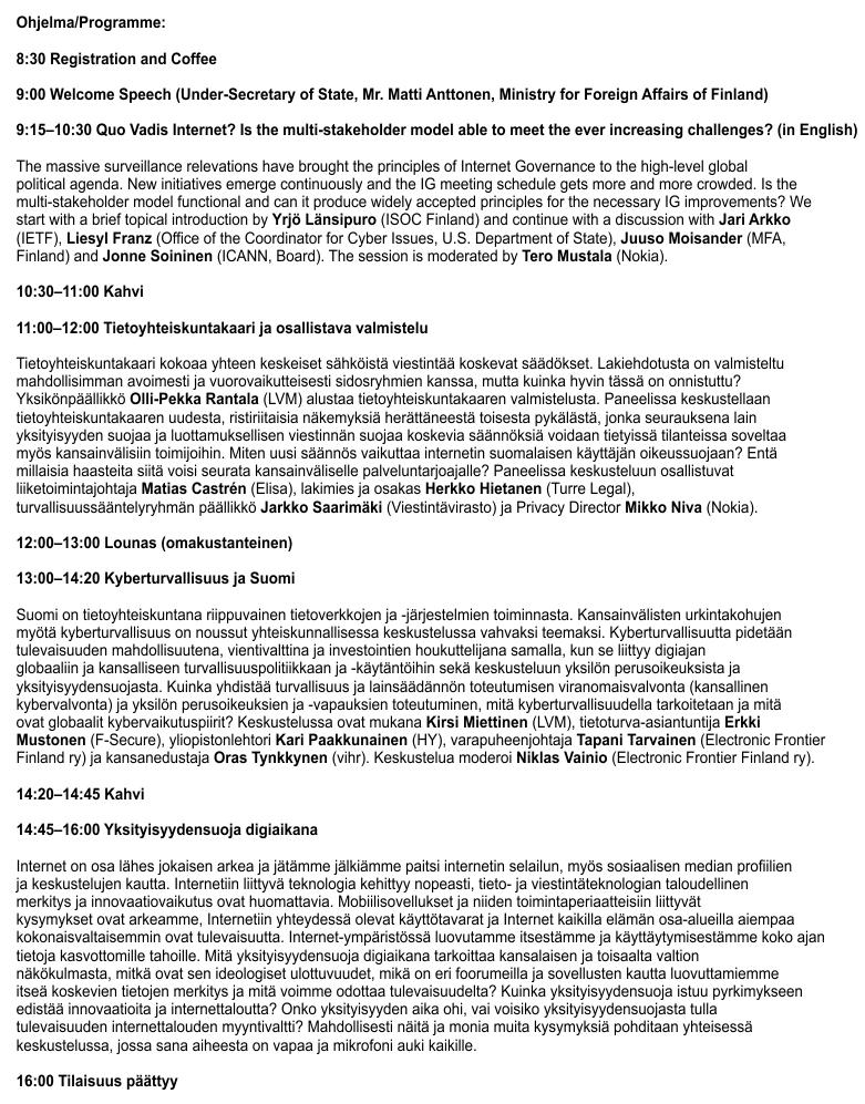 Finnish Internet Forum 2014 on Livestream