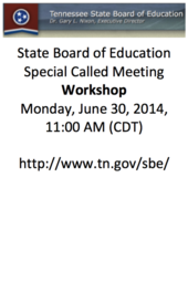 WORKSHOP TN State Board of Education
