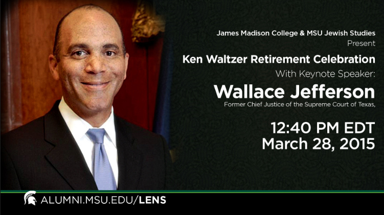 livestream cover image for Wallace Jefferson | Waltzer Retirement Keynote