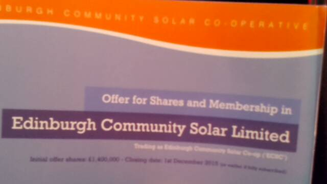 Edinburgh solar power share issue