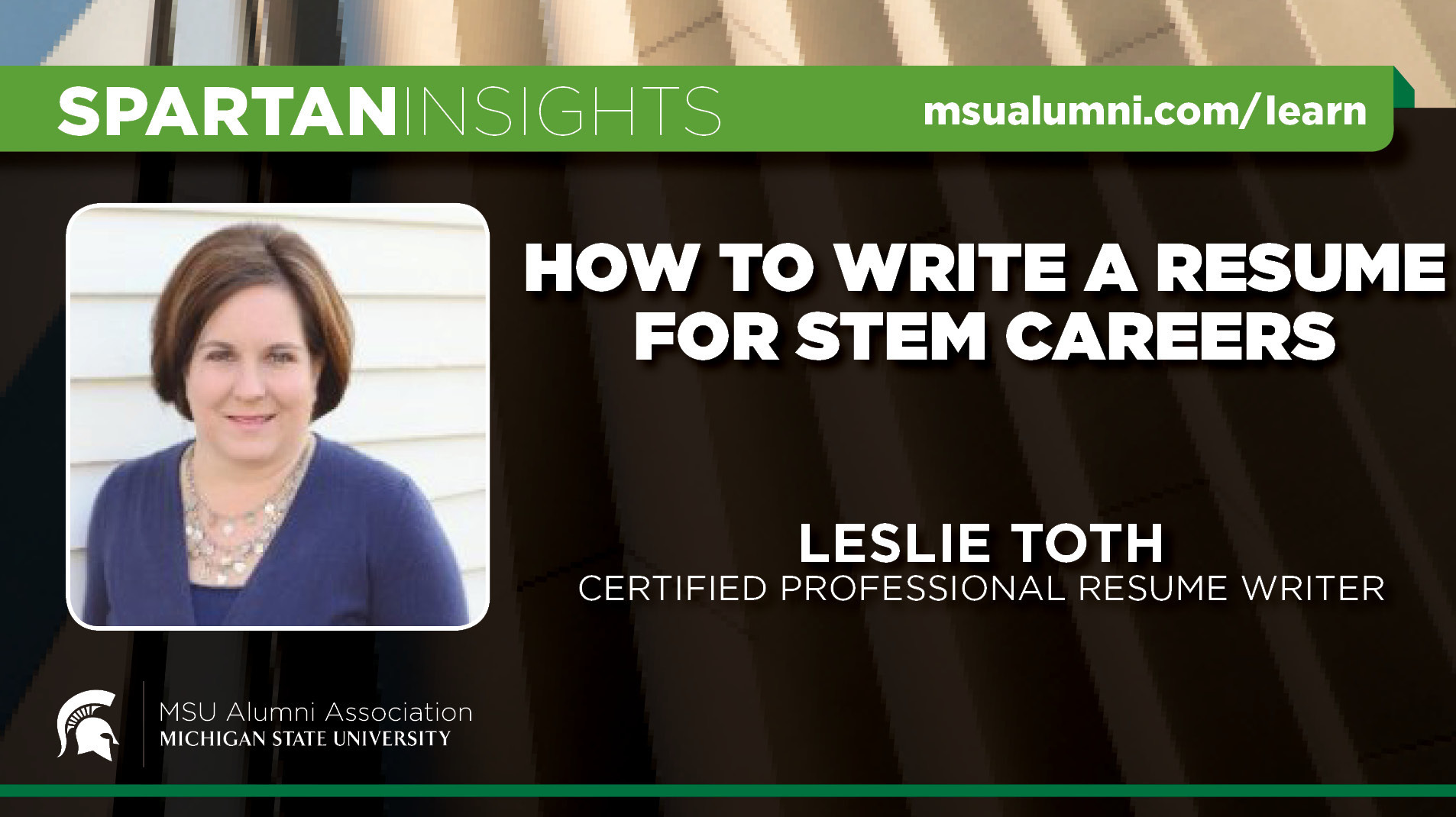 webinar cover image for Leslie Toth | How To Write A Resume For Stem Careers