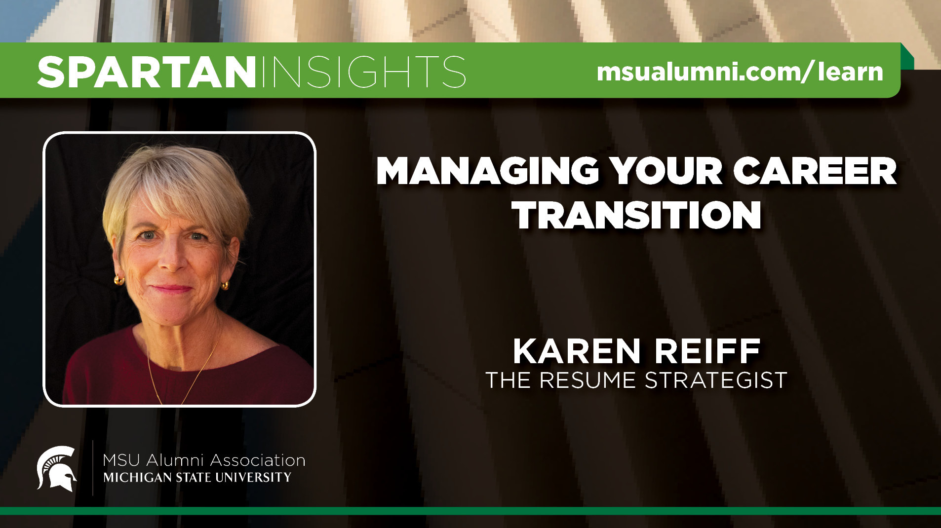 webinar cover image for Karen J. Reiff | Managing Your Career Transition