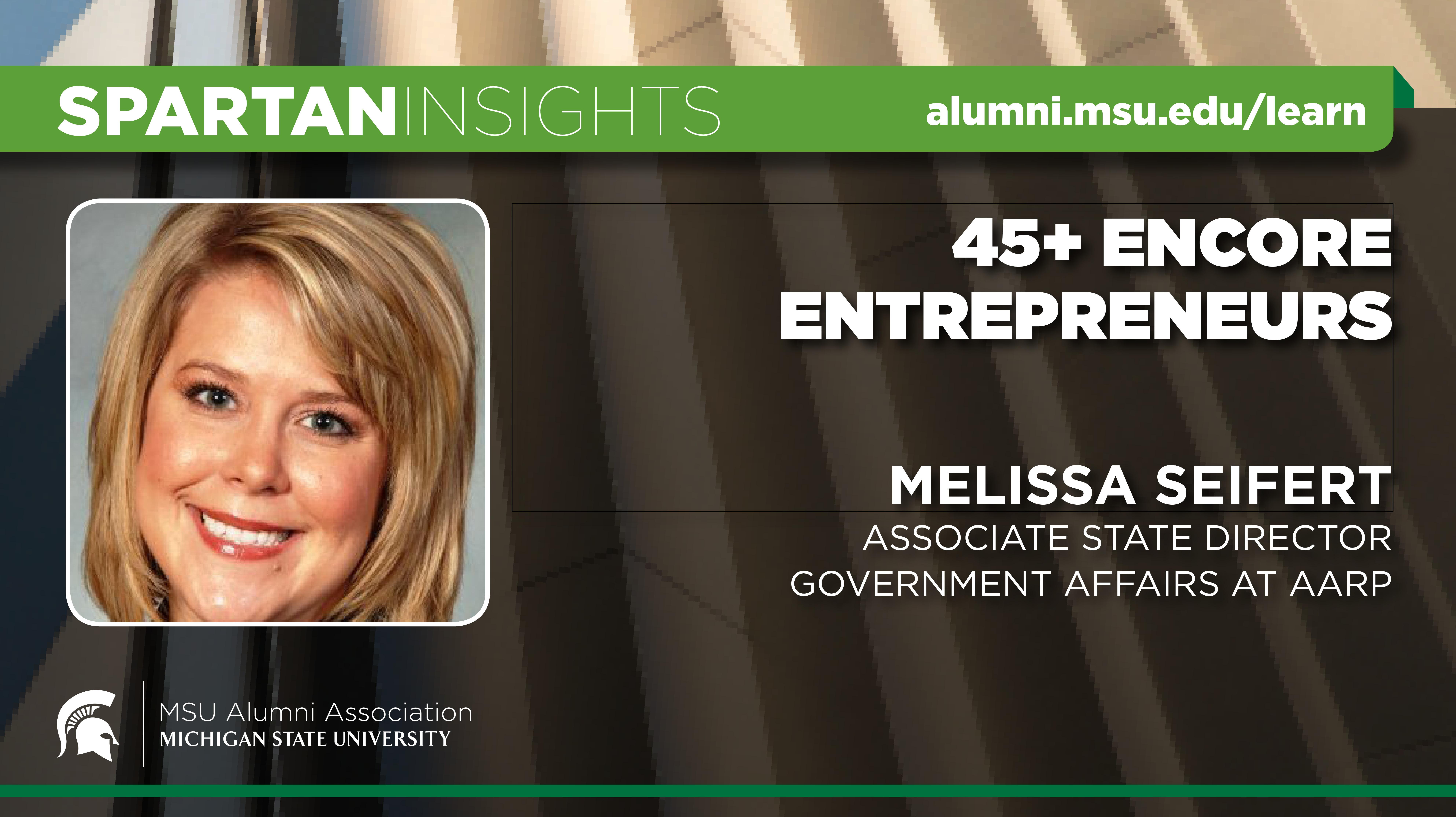 webinar cover image for Melissa Seifert | 45+ Encore Entrepreneurs