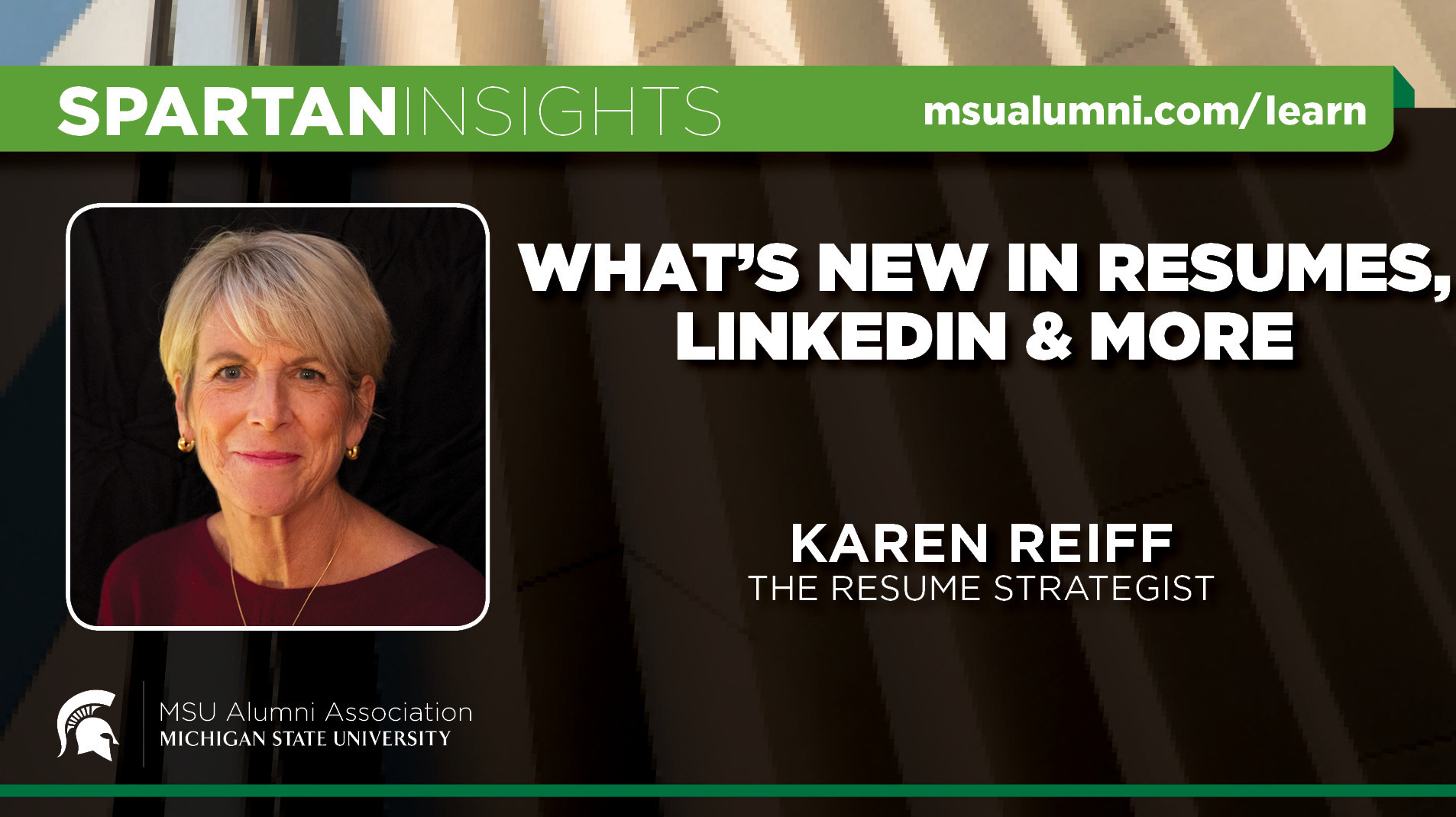 webinar cover image for Karen Reiff | What's New in Resumes, LinkedIn & More