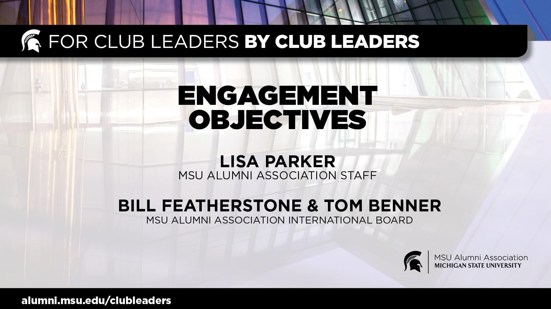 livestream cover image for Engagement Objectives   Lisa Parker, Bill Featherstone, & Tom Benner