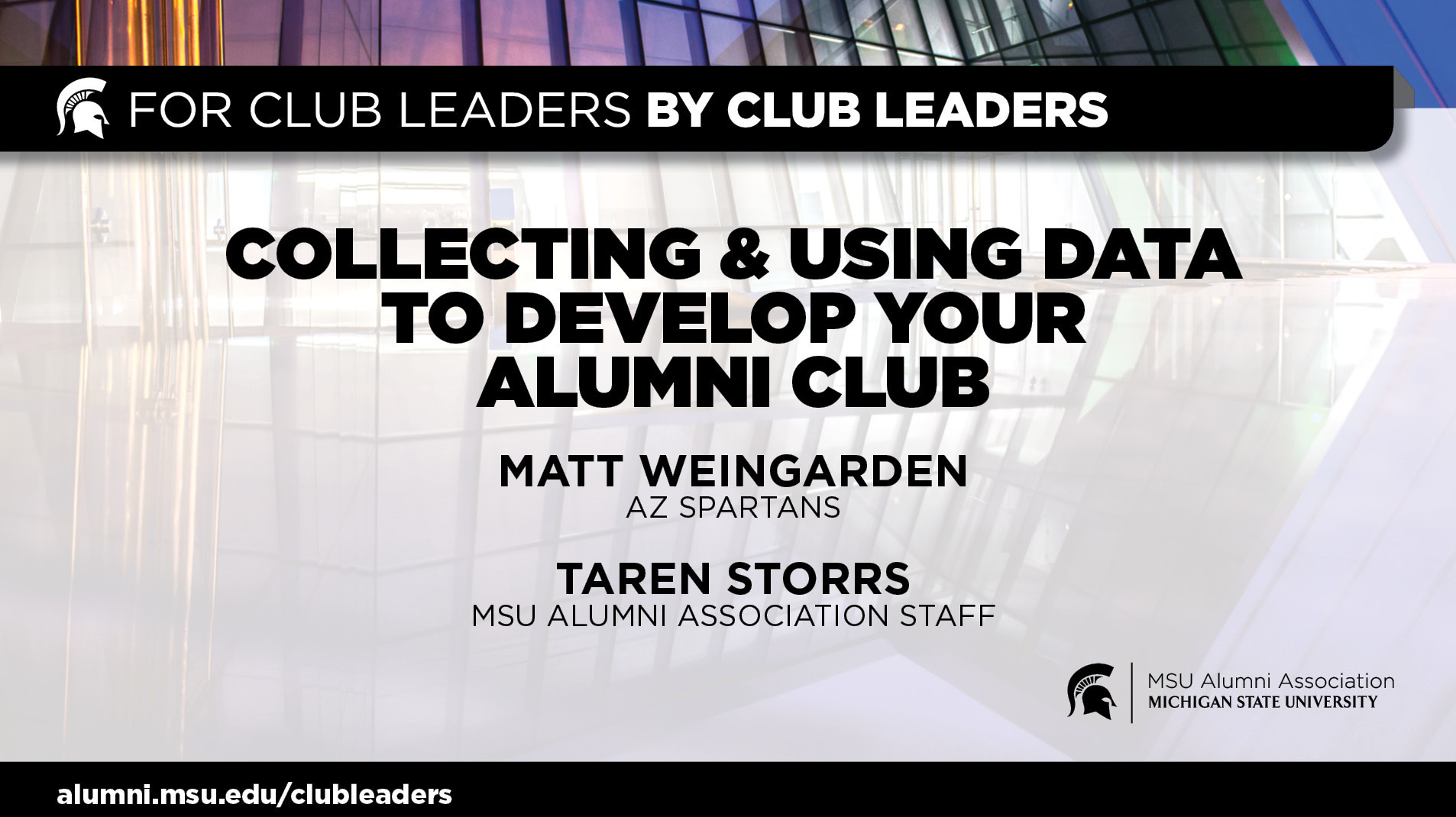 livestream cover image for Collecting & Using Data To Develop Your Alumni Club | Matt Weingarden & Taren Storrs