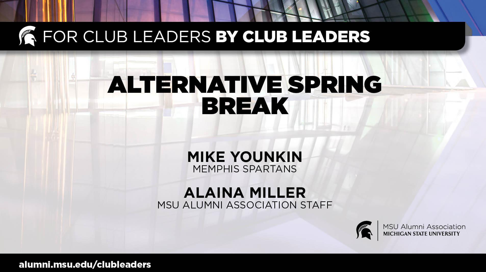 livestream cover image for Alternative Spring Break in Memphis   Mike Younkin & Alaina Miller