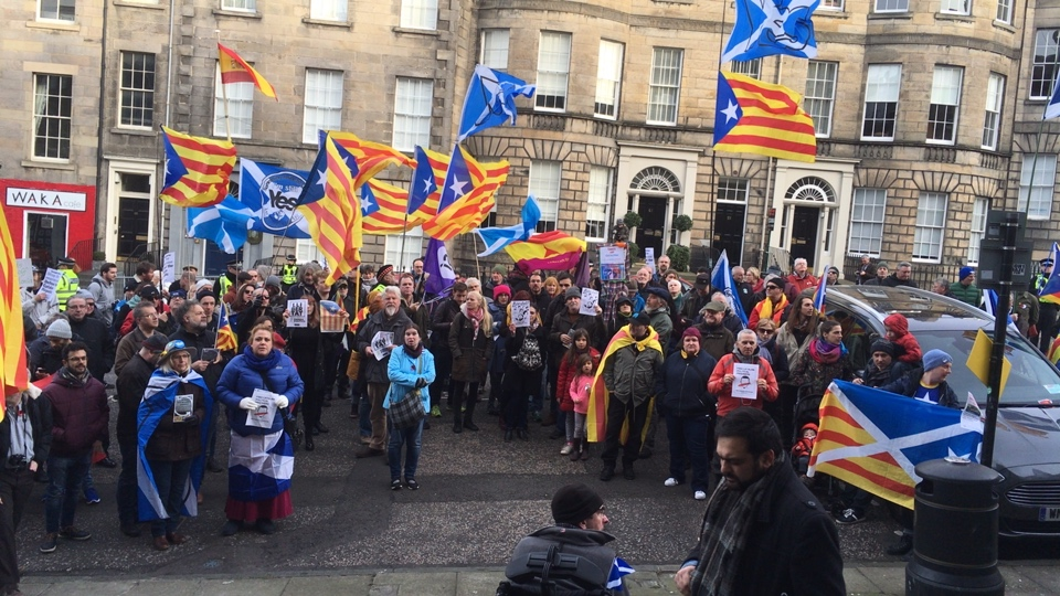 Catalan Defence Committee demo in Edinburgh at the Spanish consulate
