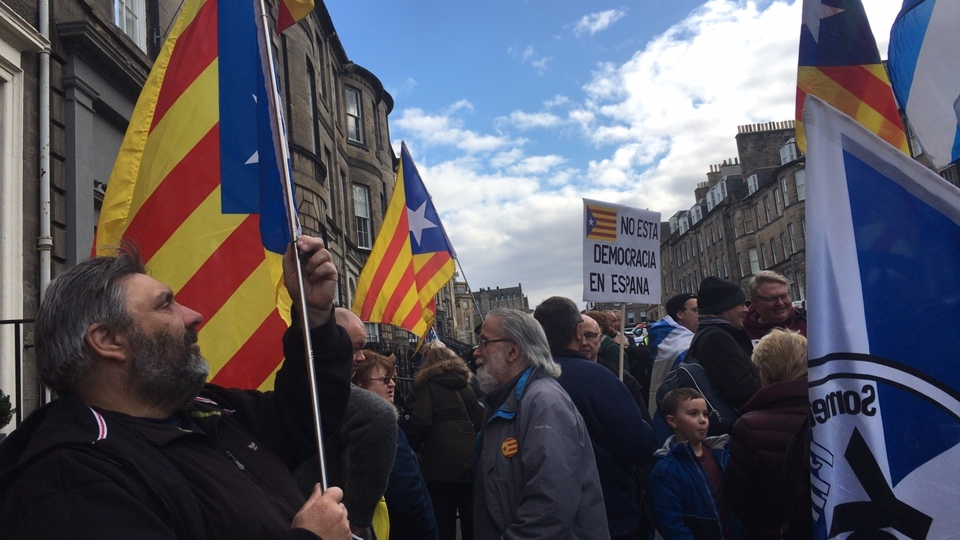 No extradition to Spain - Edinburgh demo protesting the European Arrest Warrants issued by Spain