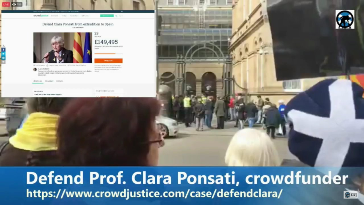 Clara Ponsati: studio feed from outside Sheriff Court