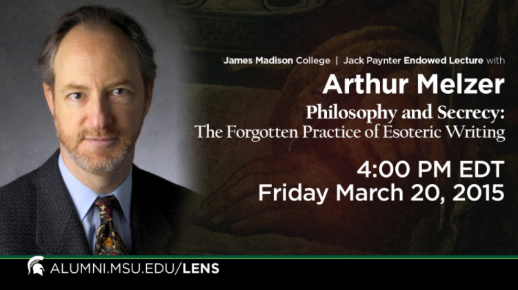 livestream cover image for Arthur Melzer | Philosophy and Secrecy