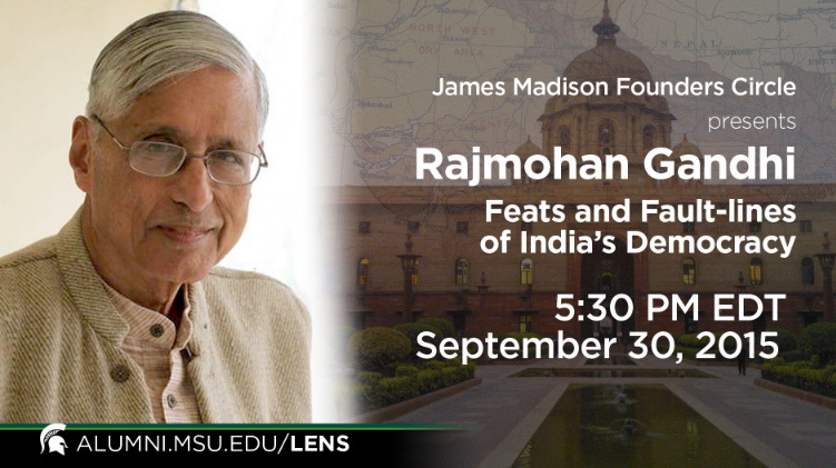 livestream cover image for Rajmohan Gandhi  |  Feats and Fault-lines of India's Democracy