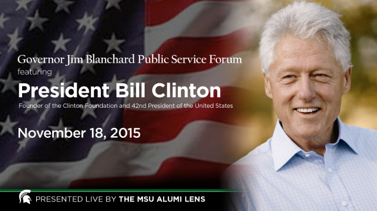 livestream cover image for Bill Clinton  |  The Governor Jim Blanchard Public Service Forum