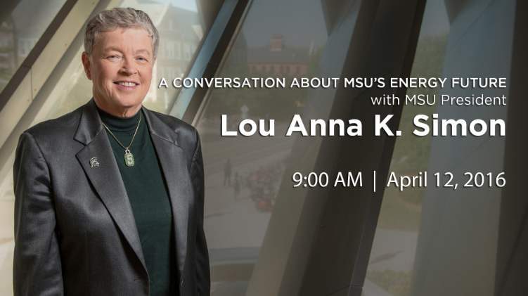 livestream cover image for A Conversation with President Simon about MSU's Energy Future