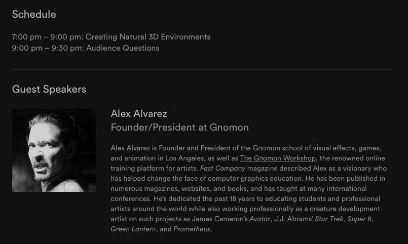 An Evening with Alex Alvarez: Creating Natural 3D Environments on