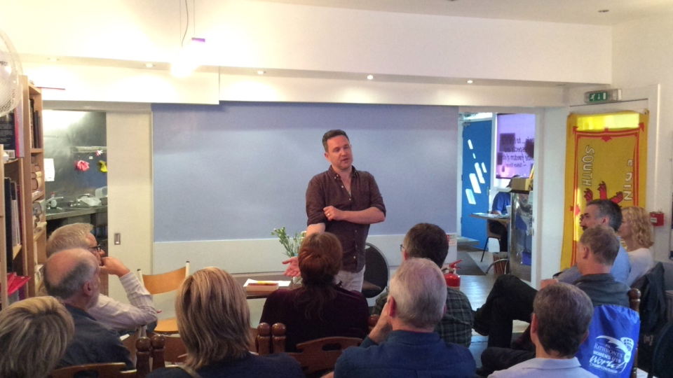 Alan Bissettt Talking at the Yes Cafe