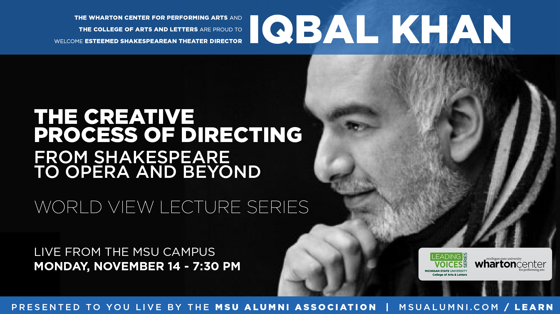 livestream cover image for Iqbal Khan | The Creative Process of Directing: From Shakespeare to Opera & Beyond