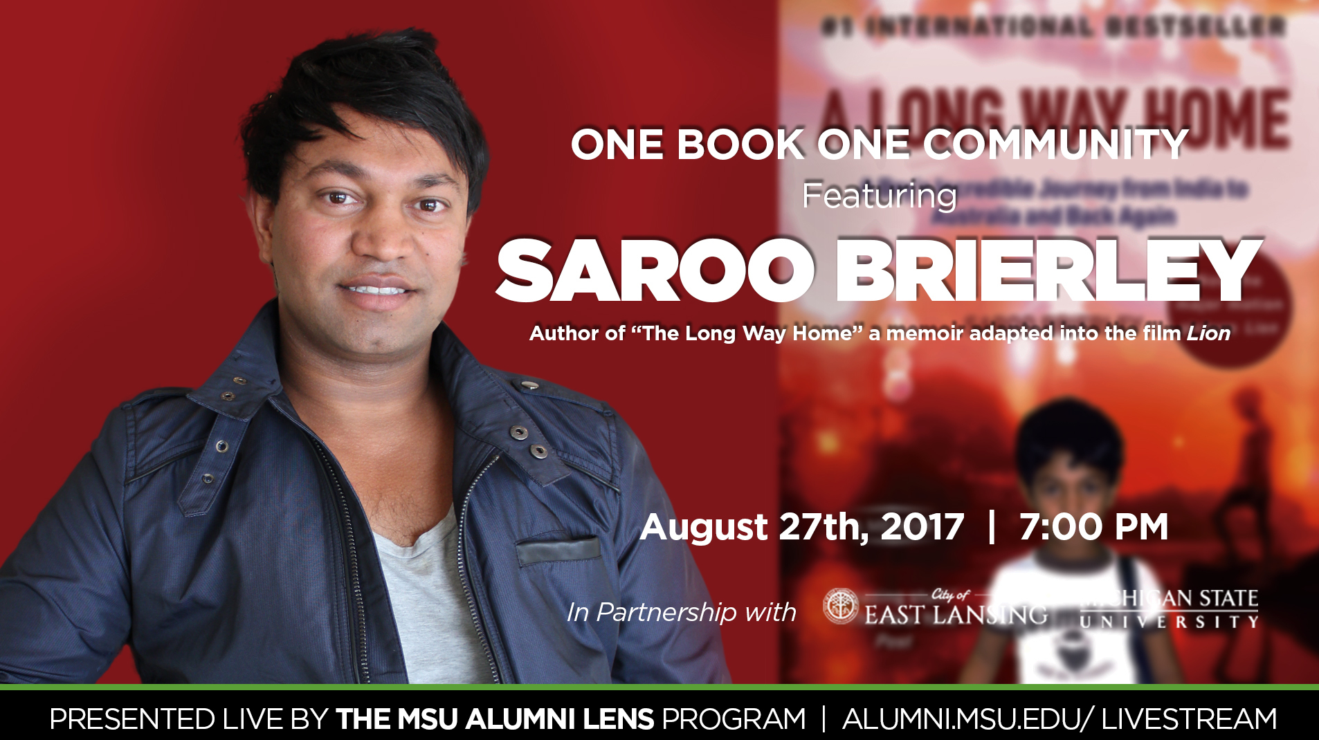 livestream cover image for Saroo Brierley | One Book One Community