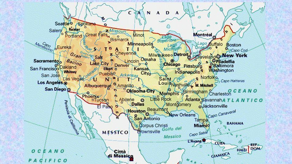 Carta geografica degli stati uniti