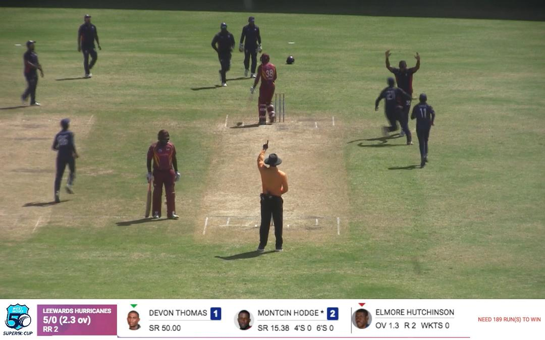 LIH 1st Wicket-D. Thomas 1 (3) lbw Hutchinson - from S50-Match 23-Hurricanes vs USA