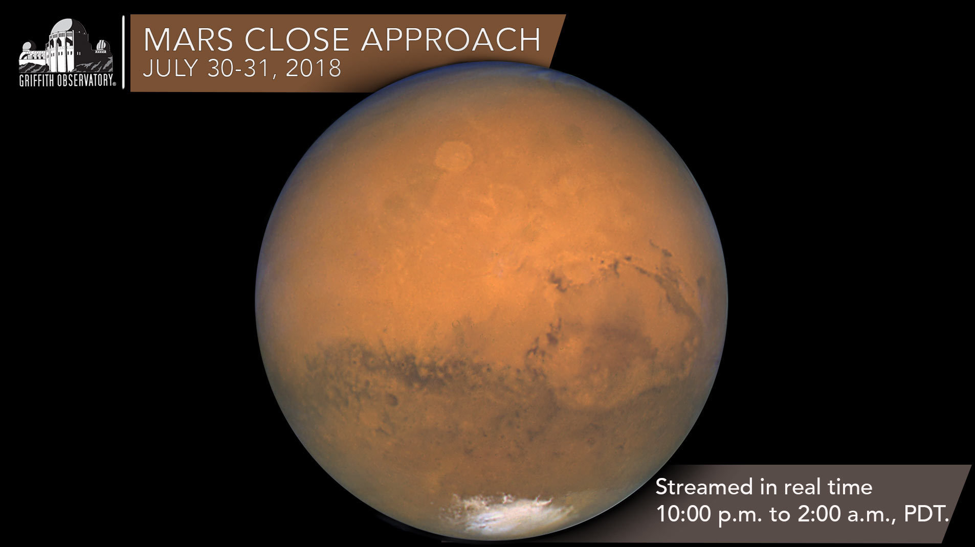 Mars Close Approach July 30-31, 2018 on Livestream