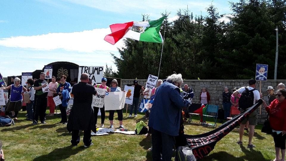 Trump protest, Menie, Aberdeenshire