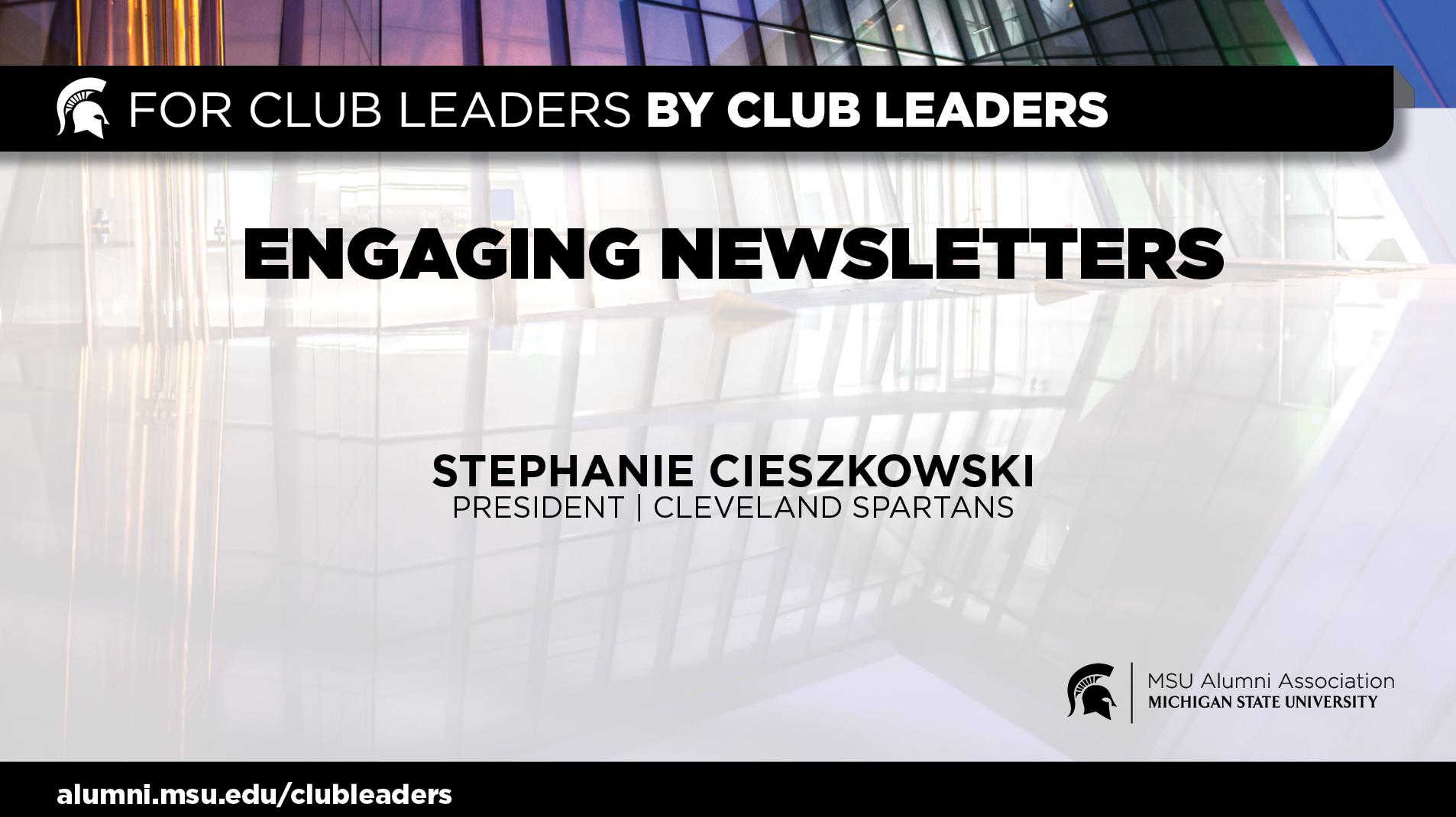 livestream cover image for Engaging Newsletter   Stephanie Cieszkowski