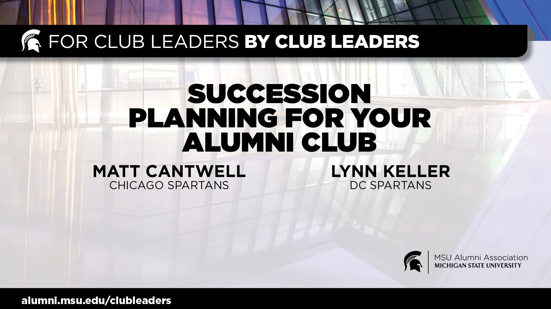 livestream cover image for Succession Planning for Your Alumni Club | Matt Cantwell & Lynn Keller
