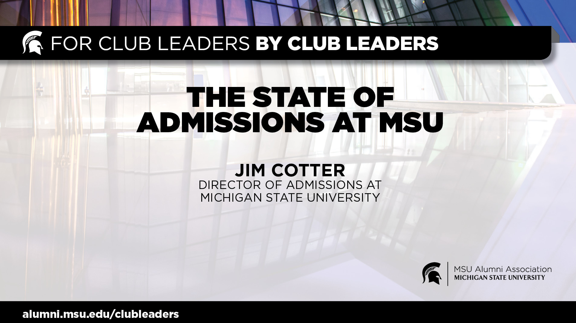 livestream cover image for The State of Admissions at MSU | Jim Cotter