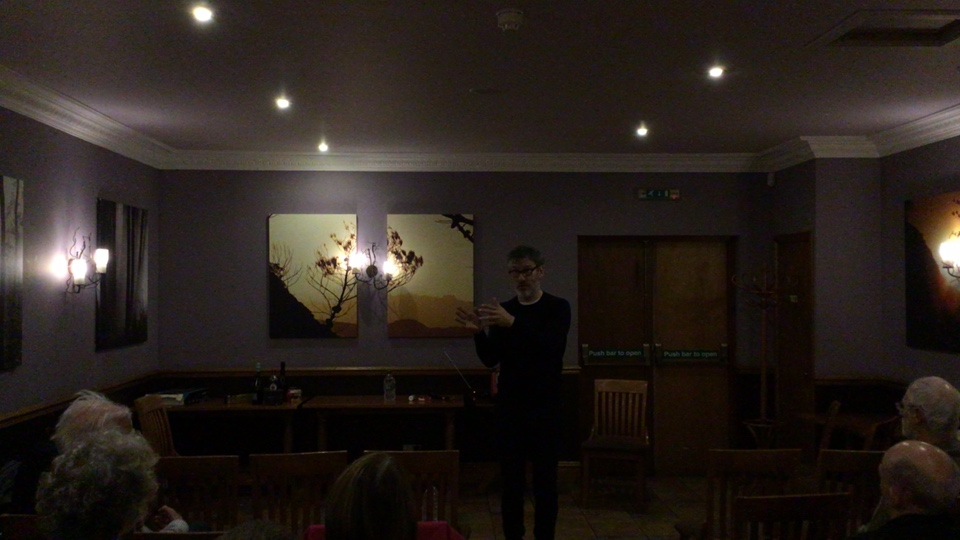 Robin McAlphine director of Common Weal, speaking at The Buchan Hotel, Ello