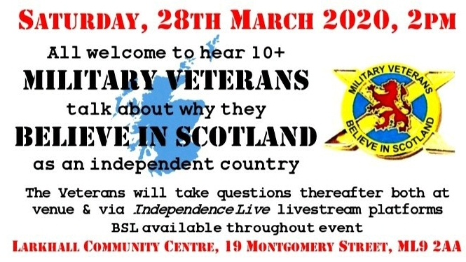 Cancelled. Military Veterans Believe in Scotland