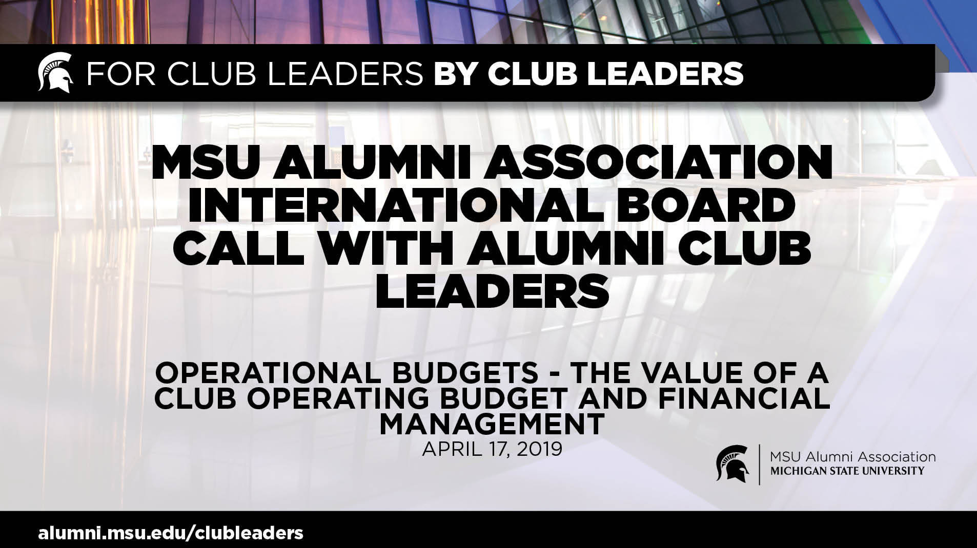 webinar cover image for International Board Call With Alumni Club Leaders | Operational Budgets