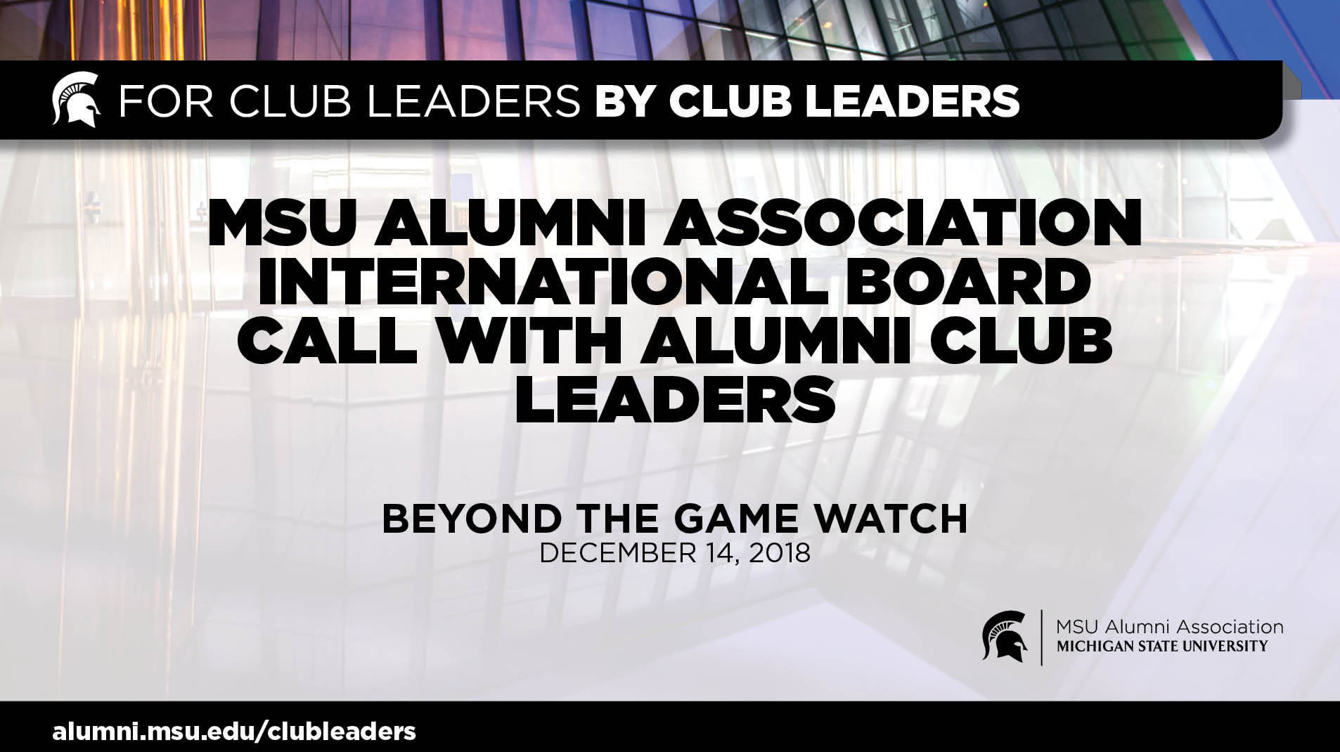 webinar cover image for International Board Call with Alumni Club Leaders | Beyond the Game Watch