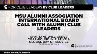 webinar cover image for International Board Call With Alumni Club Leaders | Spartans Will. SERVE